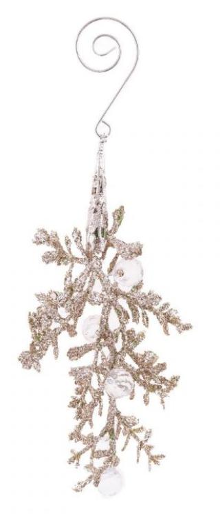 Dekorace umělá VĚTVIČKA s glitry a kamínky 15cm - 1ks