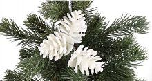 Dekorace umělá s glitry ŠIŠKY na drátku 4cm - 3ks | Sněhové, Stříbrné