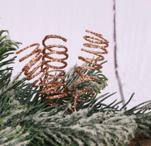 Dekorace umělá s glitry PRUŽINKY na drátku 3cm - 4ks
