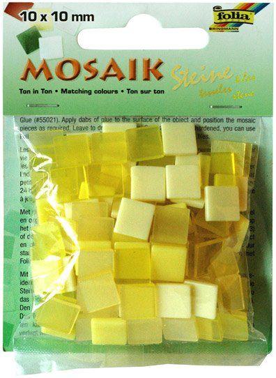 Mozaika LESKLÁ 10x10mm- žlutý mix