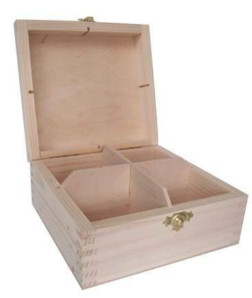 MASIV - Krabička na čaj 4 přihrádky pro dekoraci i další hobby tvorbu