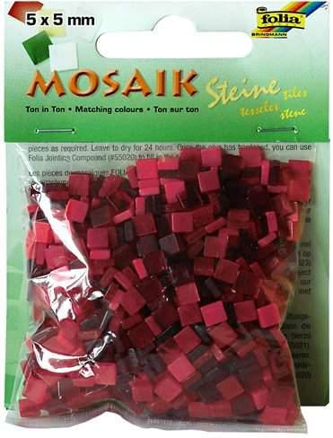 Mozaika LESKLÁ červená 5x5mm