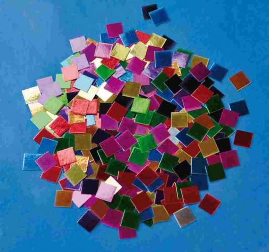 Mozaika metalické lesklé čtverečky papír 10x10mm - 10 000 ks