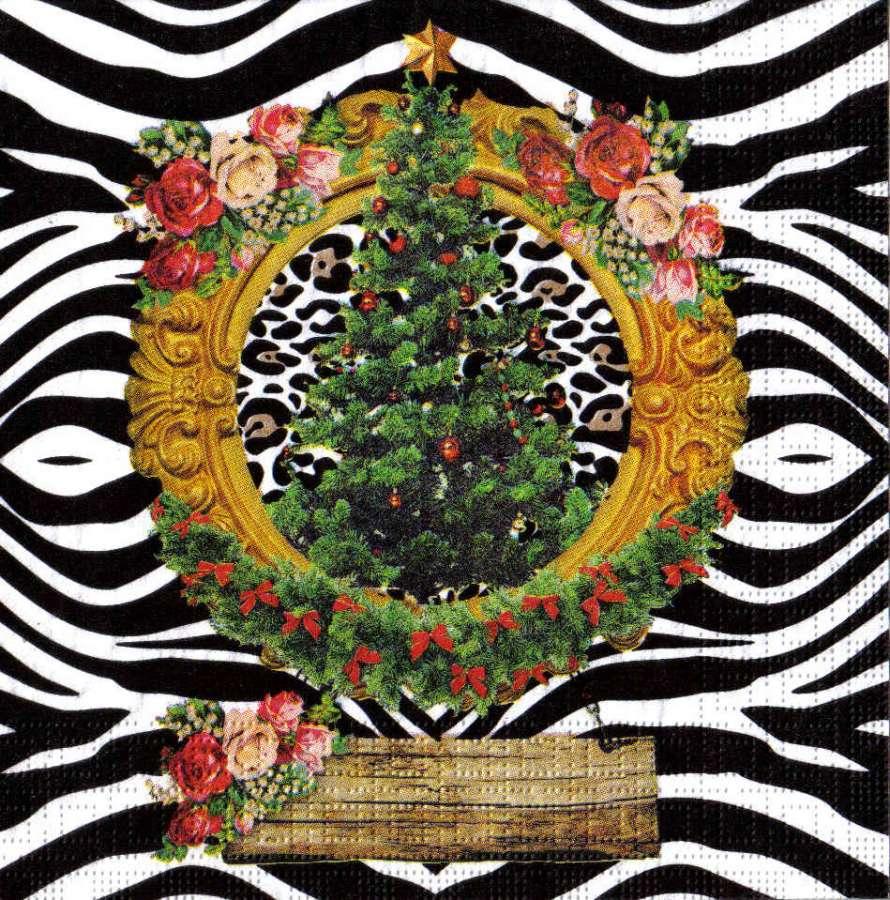 Ubrousek 33x33cm Vánoční stromeček k hobby tvorbě, dekoraci a na decoupage