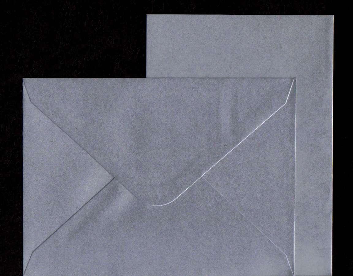 Přáníčko s obálkou METALICKÉ stříbrné 13x18cm 240g/m2