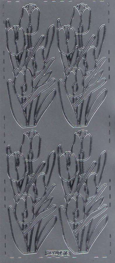 Obrysové samolepky stříbrné TULIPÁNY 10x24cm