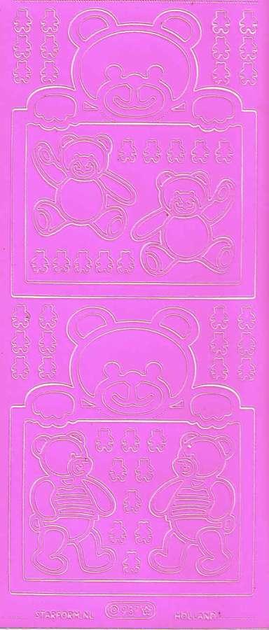 Obrysové samolepky růžové MEDVÍDEK10x24cm