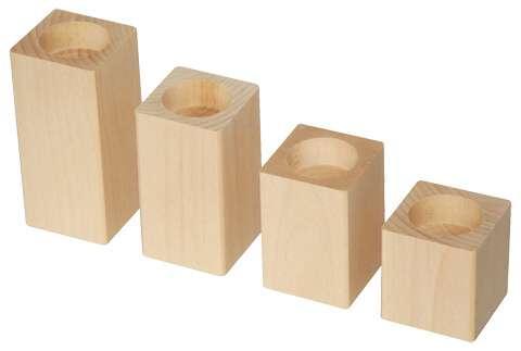 Dřevěný Svícínek KVÁDR 4x6cm - 1ks