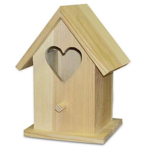 Dřevěná ptačí budka se srdíčkem 15x11x9cm