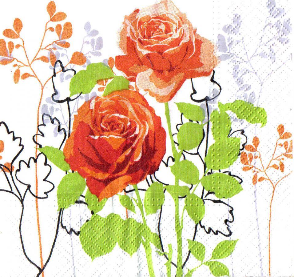 Ubrousky 33 x 33 cm RŮŽE, k hobby tvorbě a výrobu dekorace