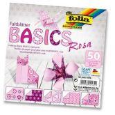 Origami 10×10 cm BASICS růžové 80 g - 50 ks
