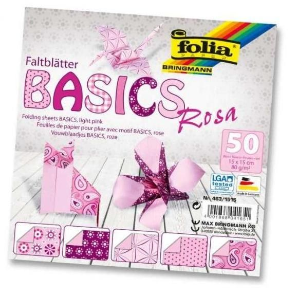 Origami 10×10 cm BASICS růžové 80 g - 50 ks Folia