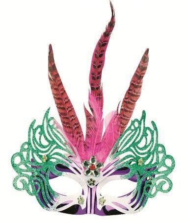 Plesová BENÁTSKÁ maska  s peřím 30cm