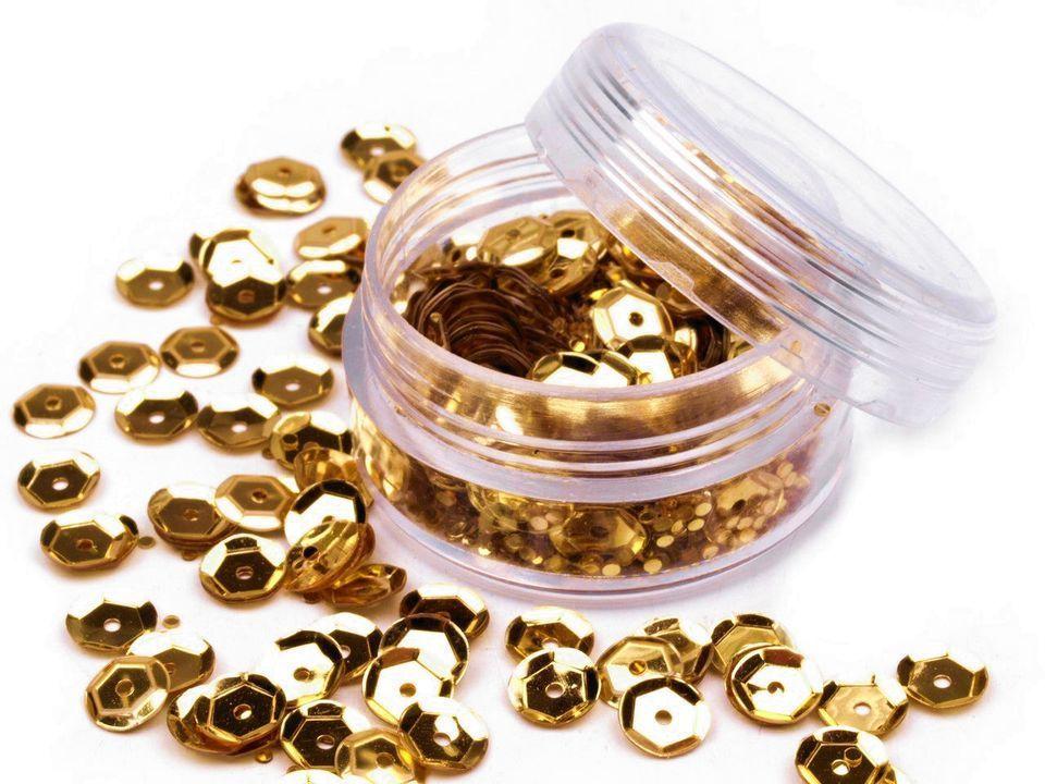 Flitry lomené Ø6mm, v plastové krabičce 5g - zlaté