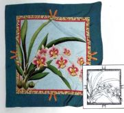 Hedvábný šátek H8 s motivem Orchidej 55x55cm