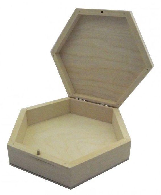 Dřevěná krabička šestihranná 19 x 5 cm