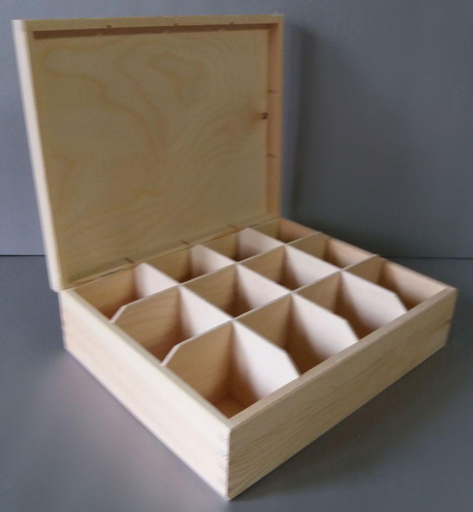 Dřevěná krabička 12 přihrádek bez zapínání / na čaje a jiné drobnosti