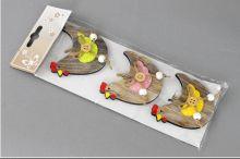 Dekorace závěs SLEPIČKA 7x6,5cm - 1ks | růžová, zelená, žlutá