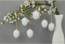 Dekorace Plastová vejce bílá 6cm - 12ks
