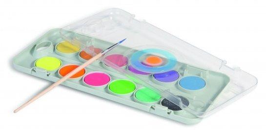 Vodové barvy PRIMO 8 x metal +4x fluo + štětec - 12 barev Morocolor