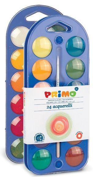 Vodové barvy PRIMO + paleta + štětec - 24 barev Morocolor