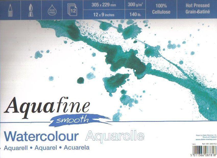 Akvarelový blok Aquafine Smooth 300g/m2 297 x 420mm - 12 listů Daler Rowney