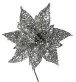 Dekorace VÁNOČNÍ RŮŽE s glitry 8cm - 1květ