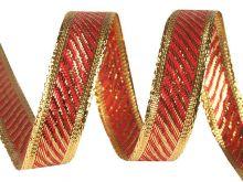 Stuha s lurexem VÁNOČNÍ 15mm - 3m   červená, fialová