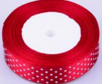 Stuha saténová s puntíky 25 mm - 1m