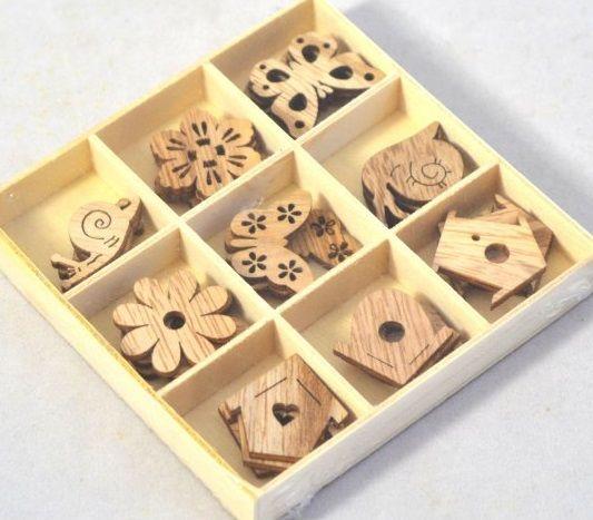 Dekorace dřevo ozdůbky MIX cca 32,5-3cm - 27ks
