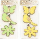Dekorace dřevěné závěsy (motýl, ptáček, květ) 7-10 cm - 3ks