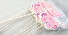 Dekorace dřevo BABY KOČÁREK zápich  růžový - 1ks