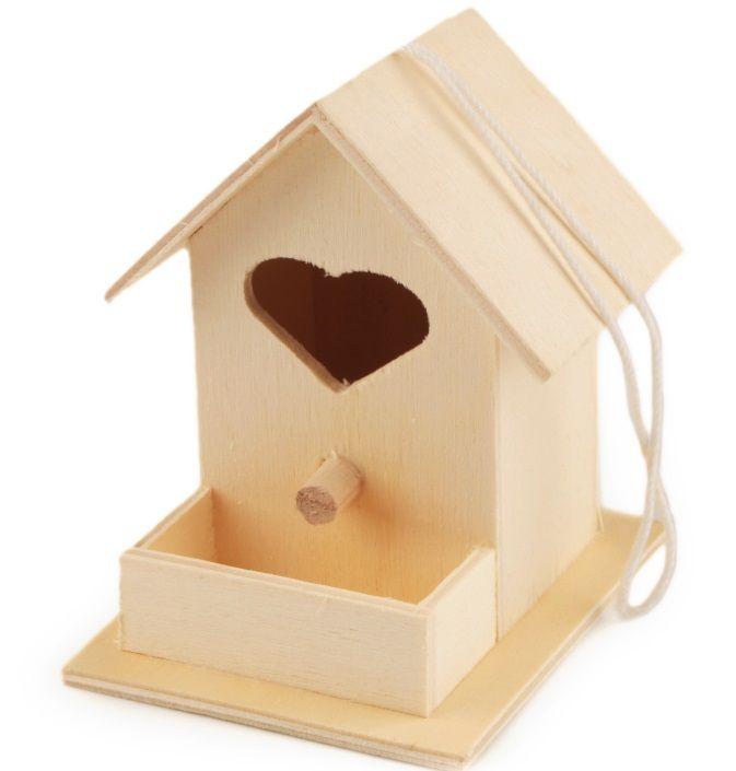 Dřevěná ptačí budka 9,3x10,5x7,5cm se srdíčkem