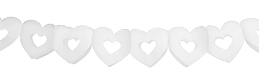 Girlanda papírová SRDÍČKA bílé 300 x 13 cm