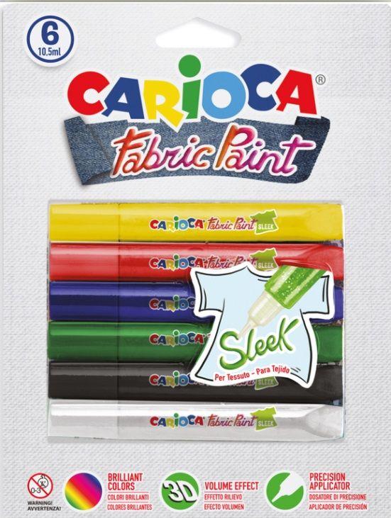 Barvy na textil 3D (kontury) na blistru CARIOCA 10ml - 6ks