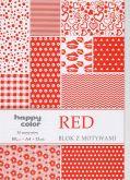 Kreativní papíry RED 80g/m2 A4  červený - 15listů