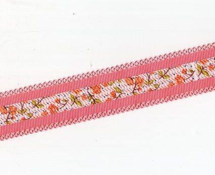 Rypsová stuha KVĚTY 20 mm- 1m