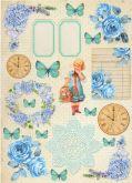 Kreativní tvrdý papír A4 250g Modré Vintage
