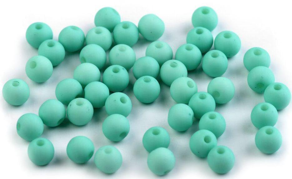 Plastové korálky matné Ø6 mm - 50ks