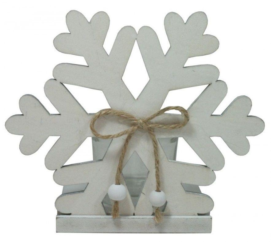 Dekorační svícen dřevo na jednu čajovou svíčku - Sobík bílá