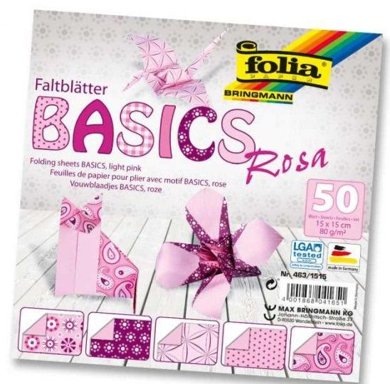 Origami 15×15 cm BASICS růžové 80 g - 50 ks Folia