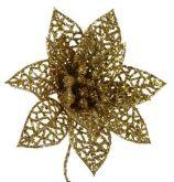 Dekorace s glitry VÁNOČNÍ RŮŽE krajka 10cm - 1květ