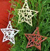 Dekorace filc s glitry Hvězda na pověšení 8cm - 1ks