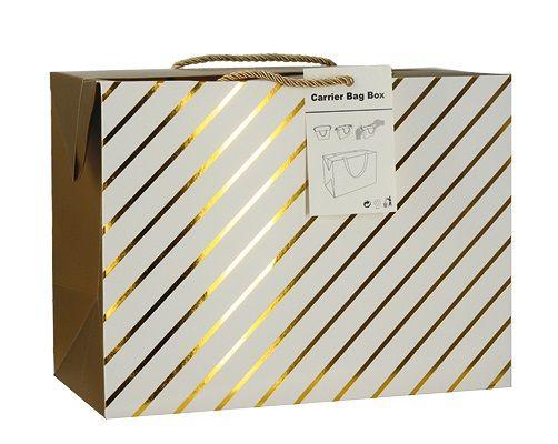 Luxusní dárková taška se zlatými proužky 23x16x11cm