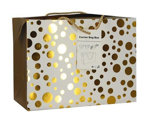 Luxusní dárková taška se zlatými puntíky 23x16x11cm