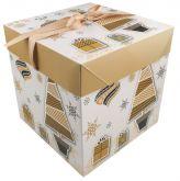 Dárková krabička skládací s mašlí 21,5x21,5cm