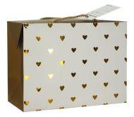 Luxusní dárková taška se zlatými srdíčky 18x12x9cm - 1ks