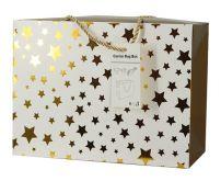 Luxusní dárková taška se zlatými hvězdičkami 23x16x11cm - 1ks