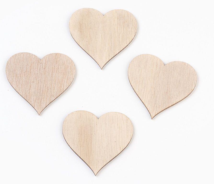Dřevěný výsek srdíčko PŘÍRODNÍ 5,2cm 1ks