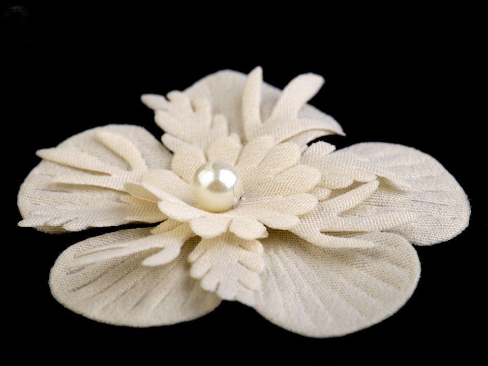 Textilní květ s perlou 53mm - 1ks